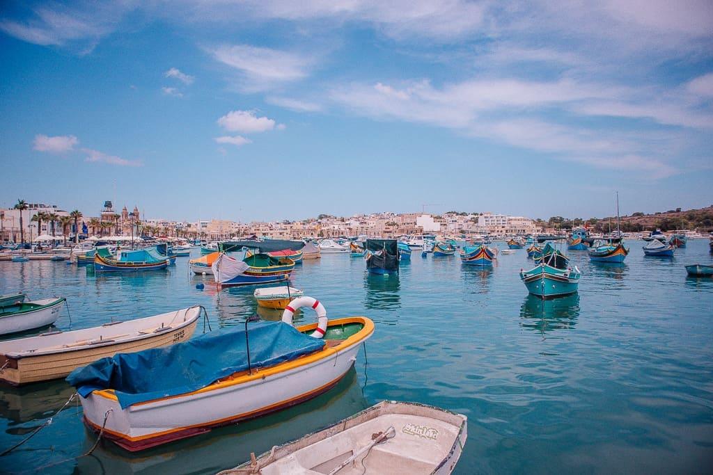 malta photos gallery - color boats in Marsaxlokk