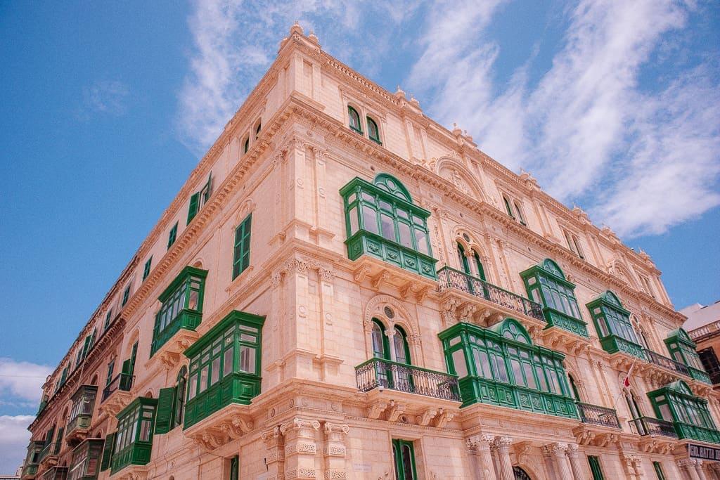 green balconies in Valletta