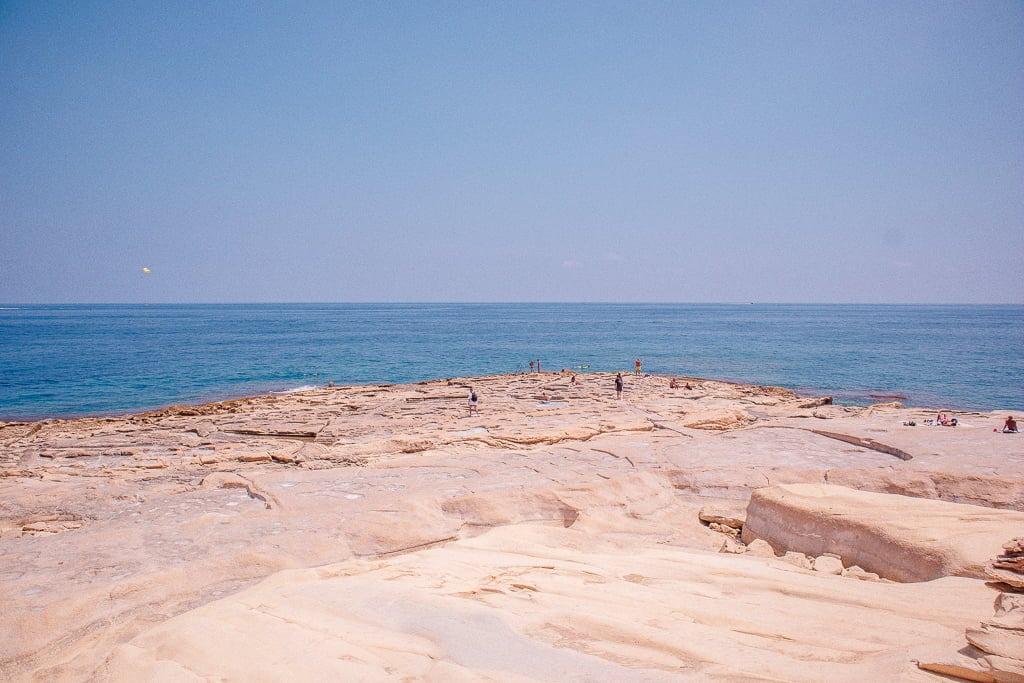 rocky beach in Sliema