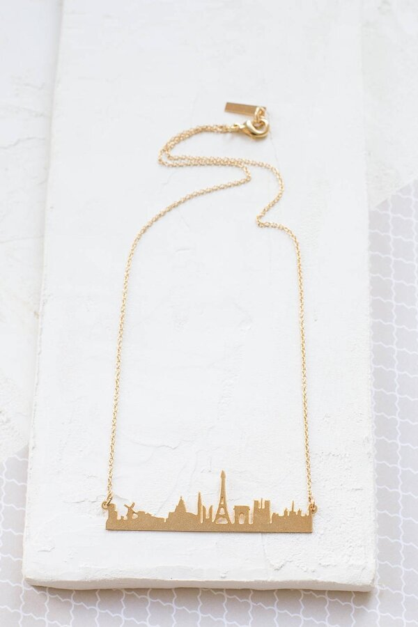Paris themed gift ideas - Paris skyline necklace