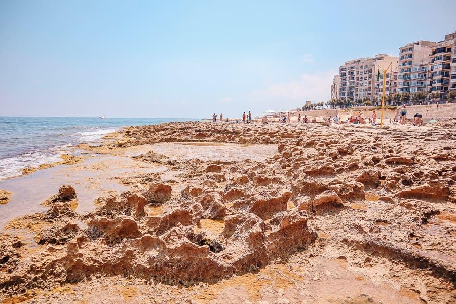 malta tips and tricks - beach in sliema