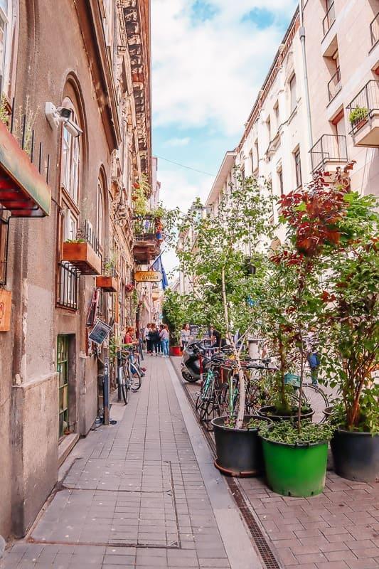 a street in Budapest Jewish quarter