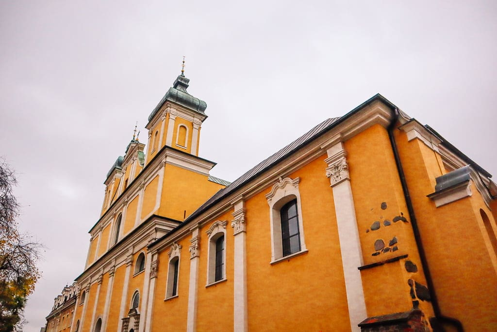 A yellow church in Poznan